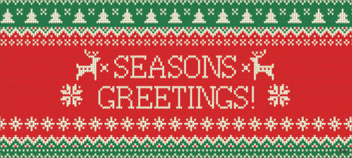 """7' x 16' Red and Green """"SEASONS GREETINGS!"""" Christmas Double Car Garage Door Banner - IMAGE 1"""