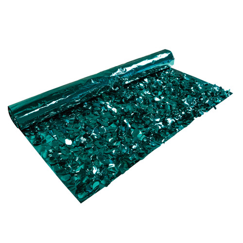 15' Teal Green Contemporary Metallic Floral Sheeting Party Streamers - IMAGE 1