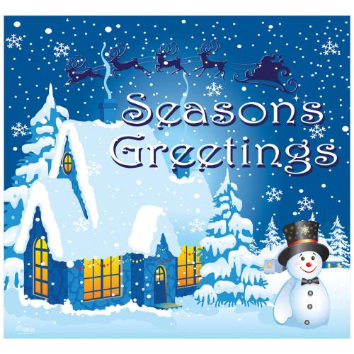 "7' x 8' Blue and White ""Seasons Greetings"" Single Car Garage Door Banner - IMAGE 1"