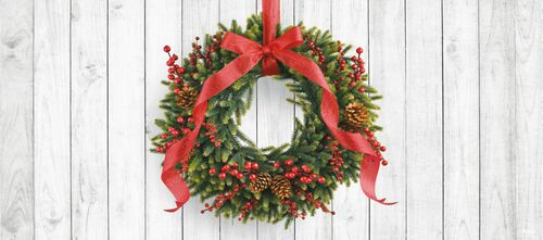 7' x 16' White and Green Christmas Wreath Double Car Garage Door Banner - IMAGE 1