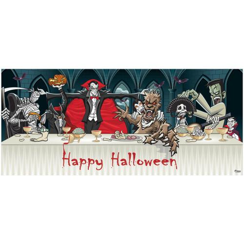 7' x 16' Black and Ivory Dracula Halloween Double Car Garage Door Banner - IMAGE 1