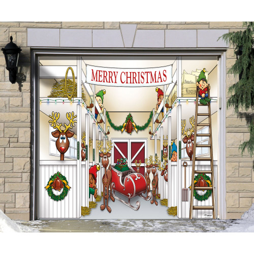 """7' x 8' White and Red """"Merry Christmas"""" Single Car Garage Door Banner - IMAGE 1"""