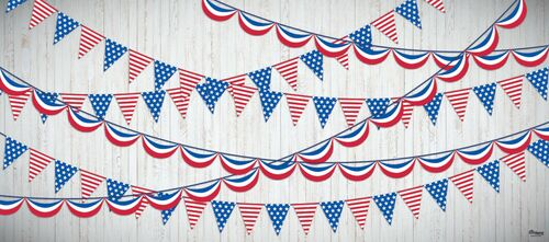7' X 16' Red and White Party Streamers US Flag Double Car Garage Door Banner - IMAGE 1