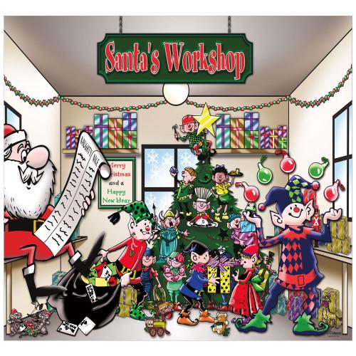 7' x 8' Green and Red Santa's Workshop Single Car Garage Door Banner - IMAGE 1