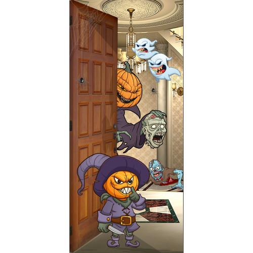 """36"""" x 80"""" Purple and Orange Pumpkin Heads Halloween Front Door Banner Mural Sign Decoration - IMAGE 1"""