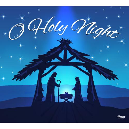 "7' x 8' Navy Blue and Black ""O Holy Night"" Single Car Garage Door Banner - IMAGE 1"