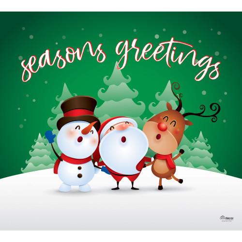 "7' x 8' Green and White ""Seasons Greetings"" Single Car Garage Door Banner - IMAGE 1"
