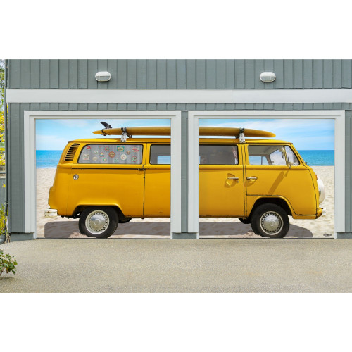7' x 8' Yellow and Blue Car Split Car Garage Door Banner - IMAGE 1