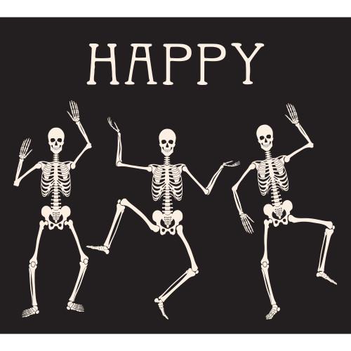 7' x 8' Black and White Skeleton Dancing Halloween Split Car Garage Door Banner - IMAGE 1