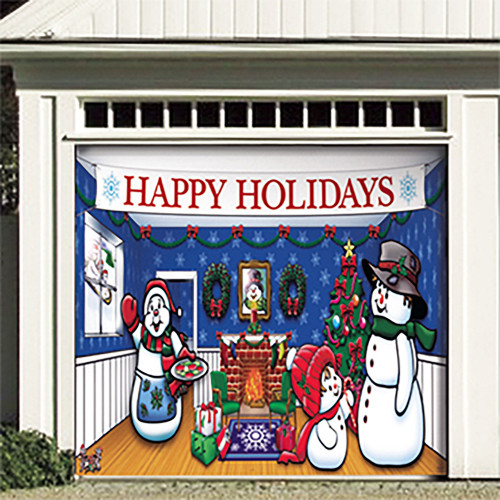 "7' x 8' White and Blue ""Happy Holidays"" Single Car Garage Door Banner - IMAGE 1"