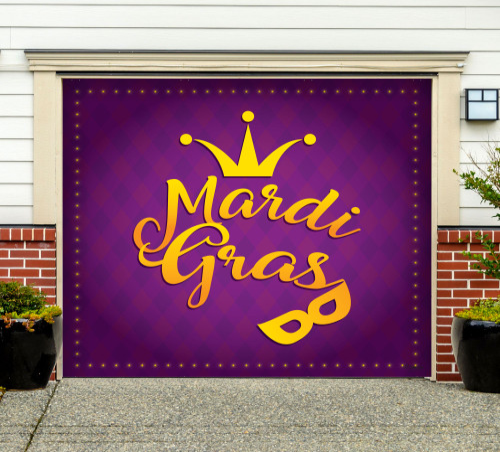 7' x 8' Purple and Yellow Mardi Gras Single Car Garage Door Banner - IMAGE 1