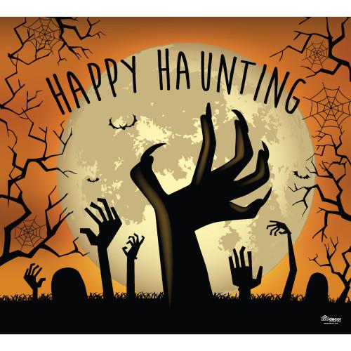 7' x 8' Orange and Black Zombie Hands Halloween Single Car Garage Door Banner - IMAGE 1