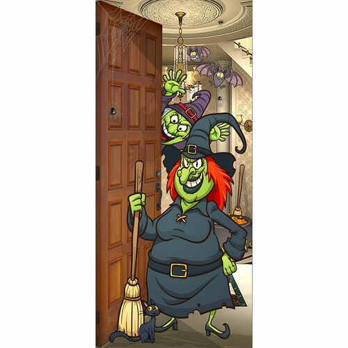 """80"""" x 36"""" Brown and Green Wicked Witch Halloween Front Door Banner Mural Sign Decoration - IMAGE 1"""