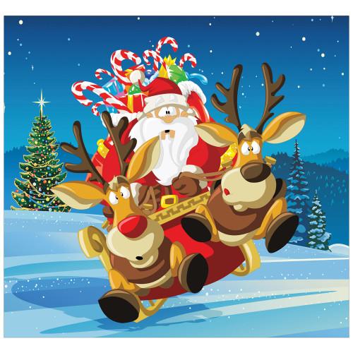 7' x 8' Red and Green Santa Take Off Split Car Garage Door Banner - IMAGE 1