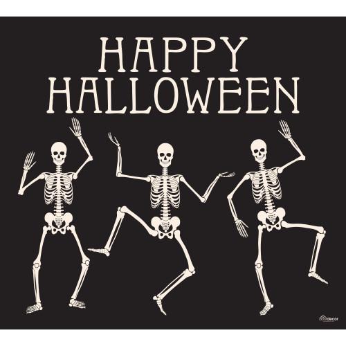 7' x 8' Black and White Skeletons Halloween Single Car Garage Door Banner - IMAGE 1