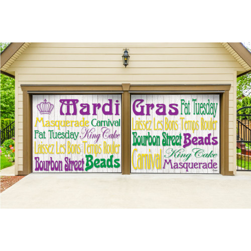 7' x 8' White and Green Mural Words Split Car Garage Banner Door - IMAGE 1