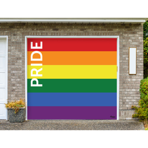 7' x 8' Red and Orange LGBT Pride Texted Single Car Garage Door Banner - IMAGE 1