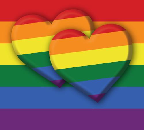 7' x 8' Yellow and Red LGBT Pride Double Heart Split Car Garage Door Banner - IMAGE 1