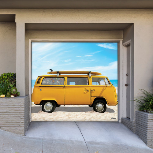 7' x 8' Yellow and Blue Car Single Car Garage Door Banner - IMAGE 1
