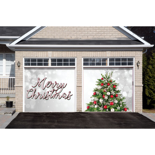 7' x 8' Green and Red Merry Christmas Tree Split Car Garage Door Banner - IMAGE 1