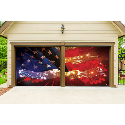 7' x 8' Blue and Gold Flag Split Car Garage Door Banner - IMAGE 1