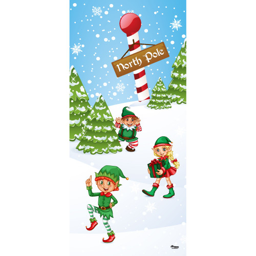 "80"" x 36"" Red and Green North Pole Elves Christmas Front Door Banner Mural Sign Decoration - IMAGE 1"