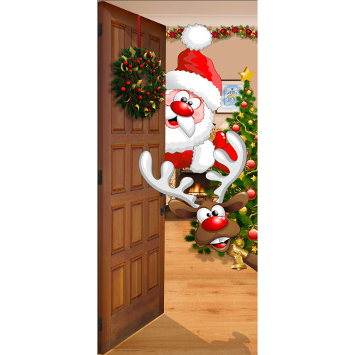 """80"""" x 36"""" Red and Brown Santa and Rudolph Christmas Front Door Banner Mural Sign Decoration - IMAGE 1"""