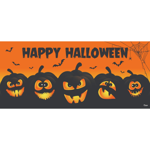 7' x 16' Orange and Black Jack-O-Lanterns Halloween Double Car Garage Door Banner - IMAGE 1