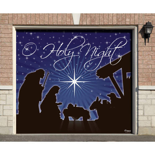 "7' x 8' Navy Blue and Black ""Holy Night"" Single Car Garage Door Banner - IMAGE 1"