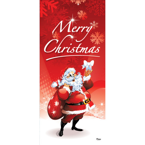 "80"" x 36"" Red and White Santa's Merry Christmas Front Door Banner Mural Sign Decoration - IMAGE 1"