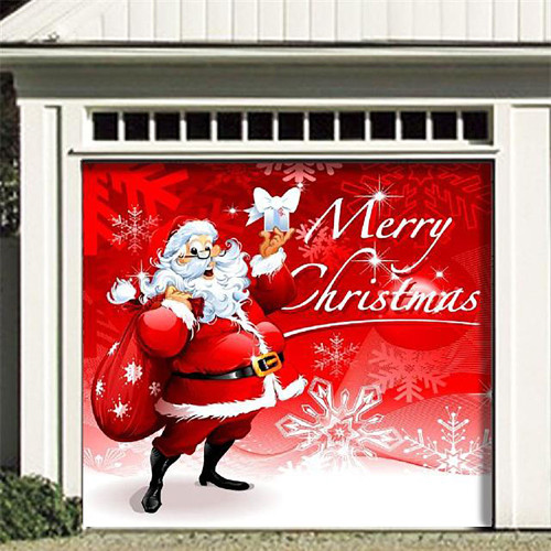 """7' x 8' Red and White """"Merry Christmas"""" Single Car Garage Door Banner - IMAGE 1"""