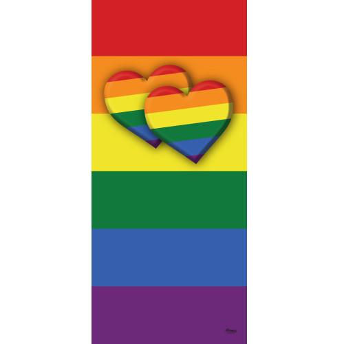 "80"" x 36"" Red and Yellow Outdoor Double Heart LGBT Garage Front Door Banner - IMAGE 1"