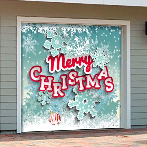 """7' x 8' Green and Red """"Merry Christmas"""" Single Car Garage Door Banner - IMAGE 1"""