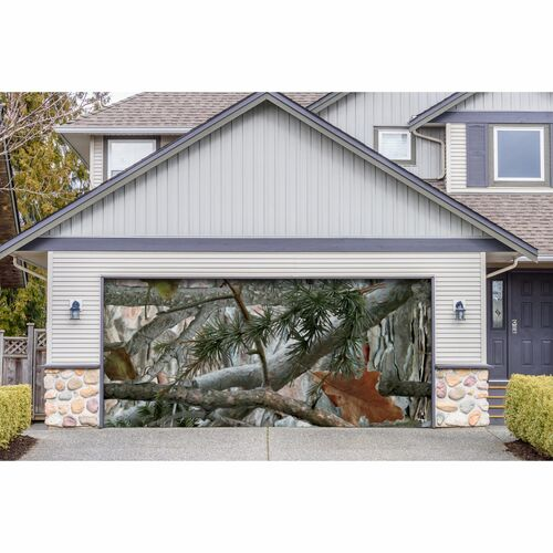 7' x 16' Green and Gray Nature Double Car Garage Door Banner - IMAGE 1