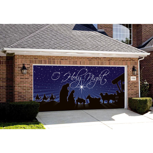 """7' x 16' Navy Blue and White """"O Holy Night"""" Outdoor Double Car Garage Door Banner - IMAGE 1"""