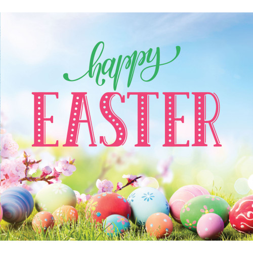 "7' x 8' Pink and Green ""Happy Easter"" Split Car Garage Door Banner - IMAGE 1"