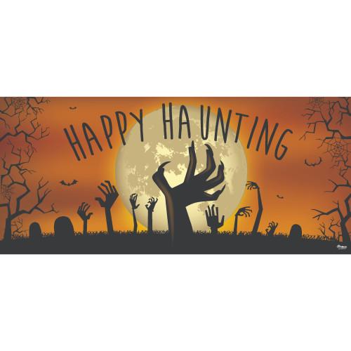 7' x 16' Orange and Black Graveyard Zombie Halloween Double Car Garage Door Banner - IMAGE 1