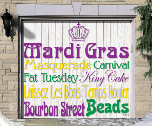 7' x 8' Purple and Green Mardi Gras Single Car Garage Door Banner - IMAGE 1