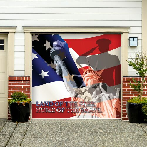 7' x 8' White and Blue Patriotic Flag Single Car Garage Door Banner - IMAGE 1