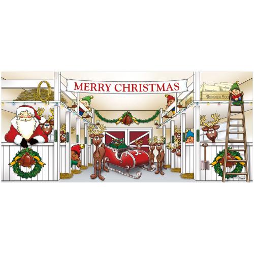"7' x 16' Red and Green ""Merry Christmas"" Outdoor Double Car Garage Door Banner - IMAGE 1"