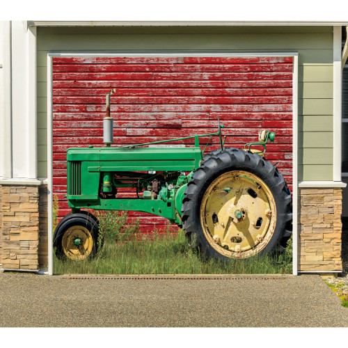7' x 8' Red and Green Tractor Single Car Garage Door Banner - IMAGE 1