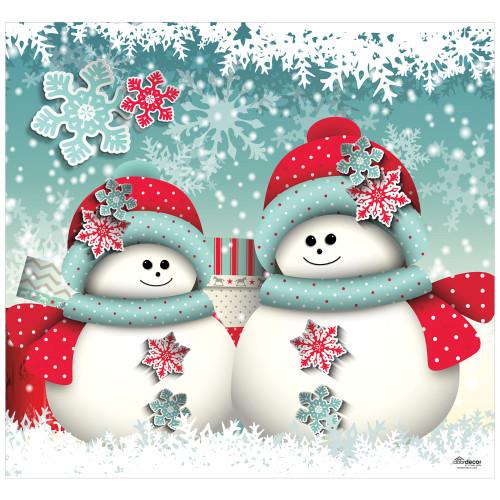 7' x 8' White and Red Christmas Snowmen Single Car Garage Door Banner - IMAGE 1