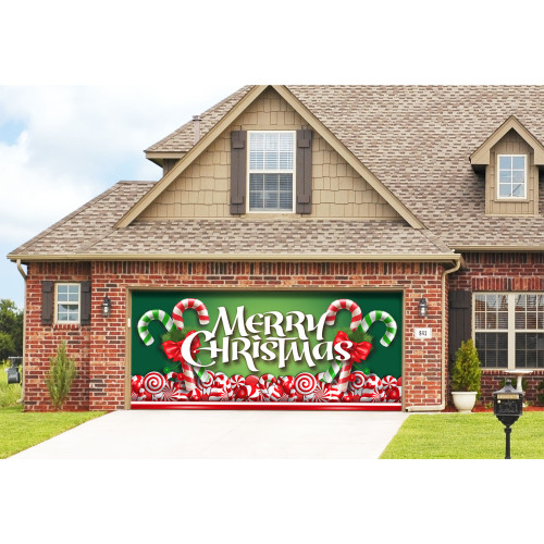 "7' x 16' Red and Green ""Merry Christmas"" Outdoor Double Car Garage Door Banner - IMAGE 1"