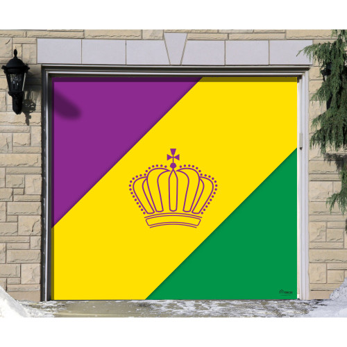 7' x 8' Yellow and Green Mural Diagonal Striped Single Car Garage Banner Door - IMAGE 1