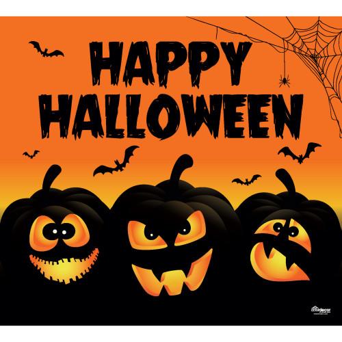 7' x 8' Black and Orange Jack-O'-Lanterns Halloween Single Car Garage Door Banner - IMAGE 1