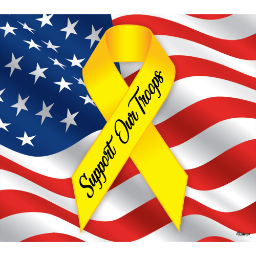7' x 8' Blue and Yellow Support Our Troops Patriotic Single Car Garage Door Banner - IMAGE 1