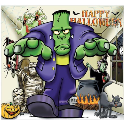 7' x 8' Green and Purple Frankenstein Halloween Single Car Garage Door Banner - IMAGE 1