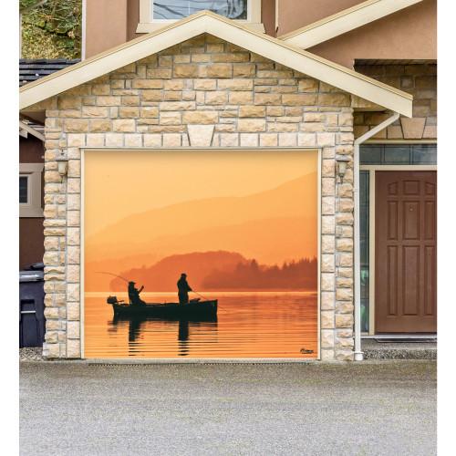 7' x 8' Beige and Brown Nature Single Car Garage Door Banner - IMAGE 1