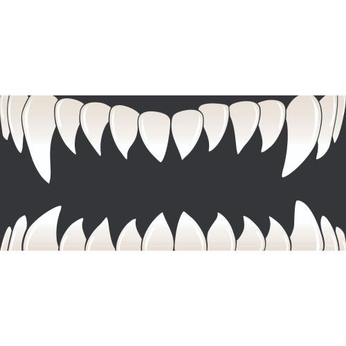 7' x 16' Cream White and Black Double Car Halloween Garage Door Banner - IMAGE 1
