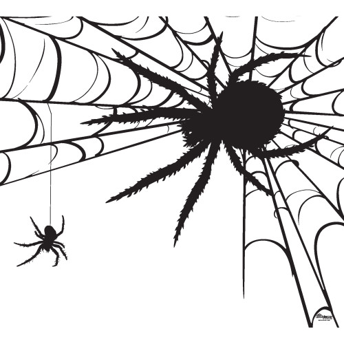7' x 8' White and Black Spiders Halloween Single Car Garage Door Banner - IMAGE 1
